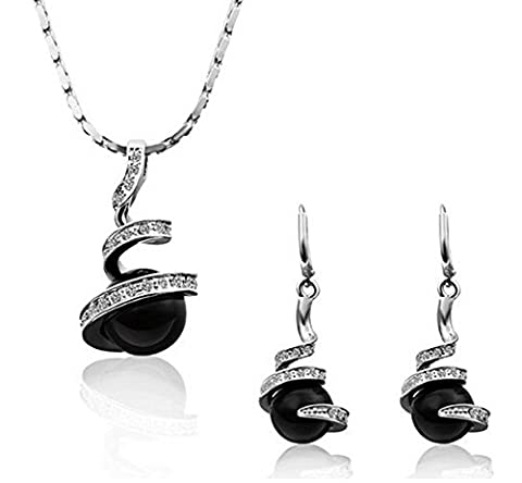DUMAN 18ct White Gold Plated Swarovski Crystal Black Pearl Jewellery Sets Necklace Earrings