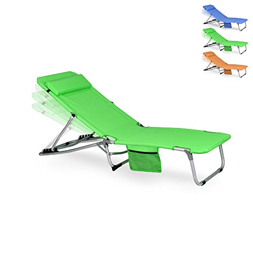 WUBOX Gartenliege klappbar - Liegestuhl mit Kissen und Verstellbarer Lehne in Orange, Grün, Blau -...