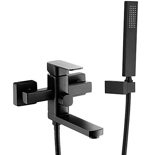 XSGDMN Bad Dusche Mischbatterie, Wandmontage Wasserhahn Dusche Combo Set gehören Einhand-Kupfer Badewanne Wasserhahn und Handbrause,Schwarz (Wasserhahn-combo Dusche Und Badewanne)