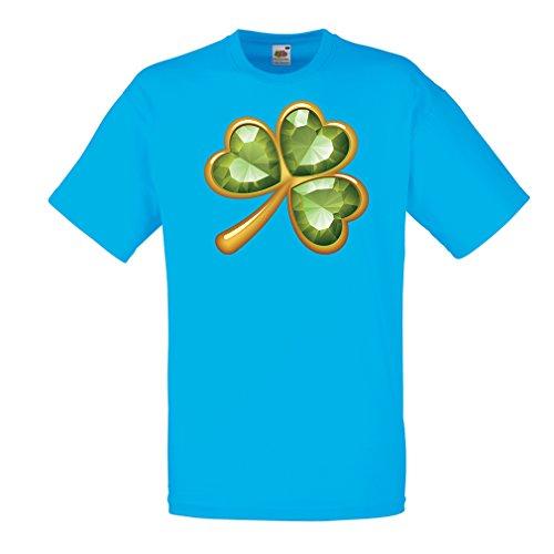 Männer T-Shirt Irish Shamrock St Patricks Day Clothing (Large Blau Mehrfarben)