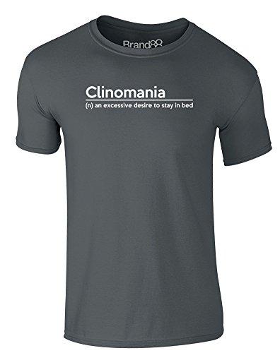 Brand88 - Clinomania Definition, Erwachsene Gedrucktes T-Shirt Dunkelgrau/Weiß