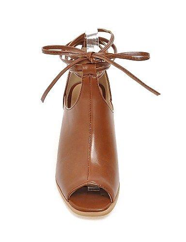 UWSZZ IL Sandali eleganti comfort Scarpe Donna-Sandali-Casual-Tacchi / Spuntate-Quadrato-Finta pelle-Nero / Marrone Black