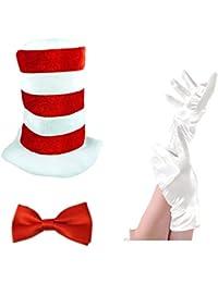Wicked Fun Kids Cat In The Hat Bow Tie & Gloves Book Week Dr Seuss Fancy Dress Costume