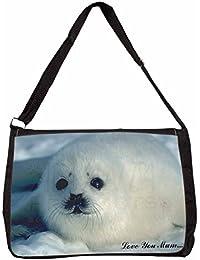 White Sea Lion 'Love You Mum' Large Black Laptop Shoulder Bag Christmas Gift Ide