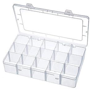 Aufbewahrungsbox 15 Raster Kunststoff Verstellbare Schmuck Organizer Box Container Aufbewahrungskoffer Sortierbox mit Abnehmbaren für Trennwänden Spulen Perlen Beautyzubehör Nagellack