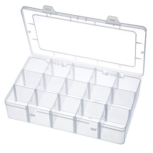Band Organizer (Aufbewahrungsbox 15 Raster Kunststoff Verstellbare Schmuck Organizer Box Container Aufbewahrungskoffer Sortierbox mit Abnehmbaren für Trennwänden Spulen Perlen Beautyzubehör Nagellack (15 Fächer))
