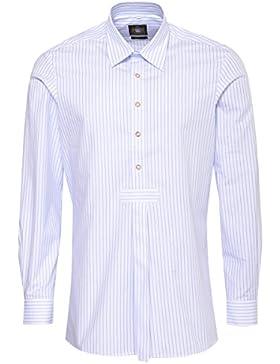 Hammerschmid Trachtenhemd Slim Fit Pfoad Zweifarbig in Hellblau und Blau