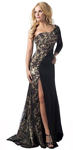 I-curves elegante abito da sera nero/oro con spacco laterale diviso in due/taglia abiti eleganti (50-52)