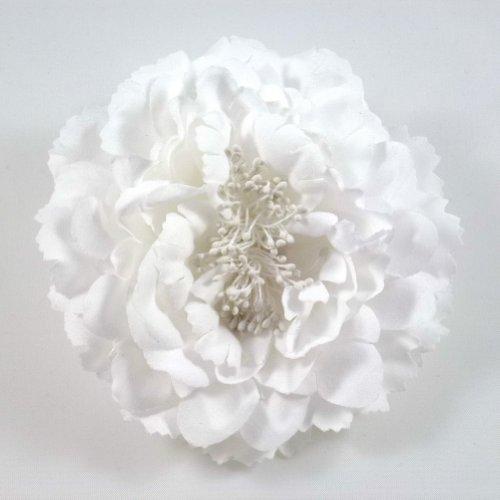 rougecaramel - Accessoires cheveux - Broche fleur / pince cheveux mariage 11cm - blanc