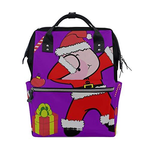 (Lustiges Schwein Karikatur Tupfentanz große Kapazität Windel bauscht sich Mummy Rucksack multi Funktionen Windel Pflegetasche Tote Handtasche für Kinder Babypflege Reise tägliche Frauen)