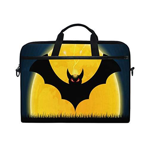 Halloween Fledermaus mit Mond Laptop Schultertasche, Reisetasche für Herren und Frauen, Business tragbare Tragetasche Computer Laptop Handtasche für Notebook Tablet