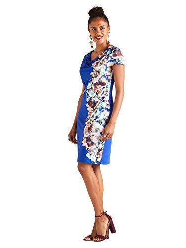 Blue Cowl Neck (Midnight Floral Print Cowl Neck Dress)