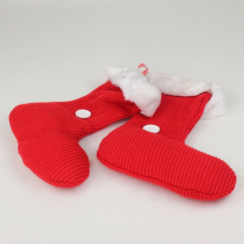 Strick-Stiefel zum Hängen rot-weiß 20 cm 2 Stück
