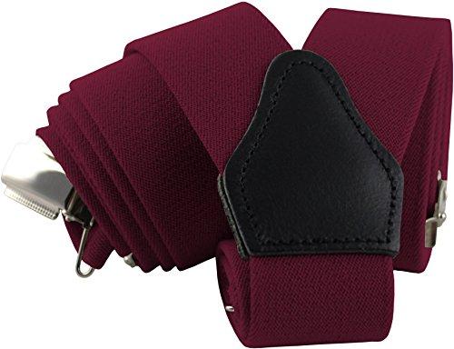 Designer Herren Hosenträger Dunkelrot | 3,5 cm breit, Y-Form mit starken Clips und Echt-Lederapplikationen | Sencillo Dunkelrote / Rote Hosenträger für Herren |