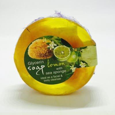 Glycérine Savon aux huiles essentielles et éponge de mer/citron/100 gr Glycérine Soap with sea Sponge Lemon