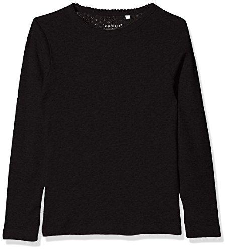 NAME IT Mädchen Langarmshirt Nkfvitte LS XSL Top Noos, Schwarz (Black), 128 (Herstellergröße: 122-128)