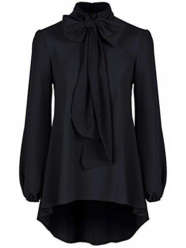 Damen elegantes Classic schwarz Chiffon Crepe Pussy Schleife Tie Neck Bluse Shirt Top Gr. 42, schwarz (Bluse Knopf-front Seide - Aus)
