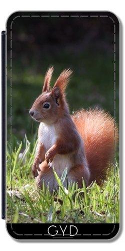 Leder Flip Case Tasche Hülle für Apple iPhone 6/6S - Leuchtenden Eichhörnchen Auf Hintergrundbeleuchtung by UtArt Lederoptik