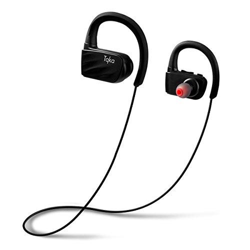 Tqka Bluetooth Kopfhörer, IP67 Wasserdichter und Schweißdichter Wireless Sport Kopfhörer, Bluetooth V4.1 HD Stereo w / Mic Ohrhörer mit 8-Stunden-Laufzeit und Geräusch-Unterdrückung für das Fitness-Center, Lauftraining Oder Sonstiges Workout
