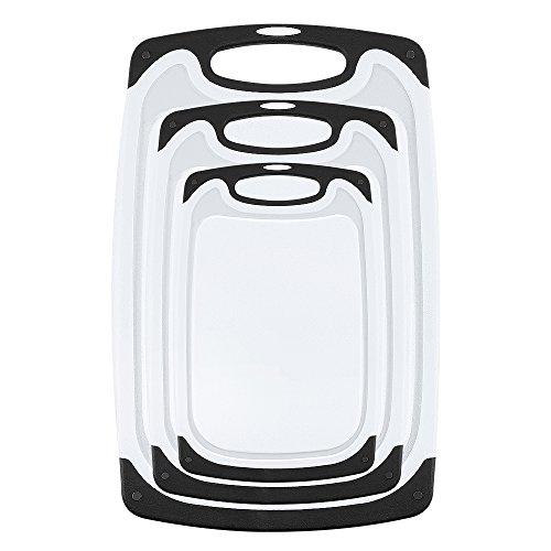 Whitgo Kunststoff Schneidebrett Satz von 3, spülmaschinenfest reversible Schneidebrett mit rutschfesten Füßen und tiefe Tropfsaftrille, bpa befreit(schwarz)