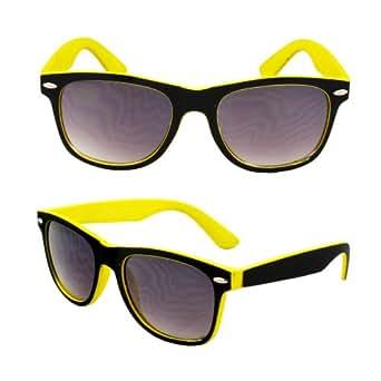 Lunettes de soleil Wayfarer MLC 351BKYLPB jaune / noir mat revêtement