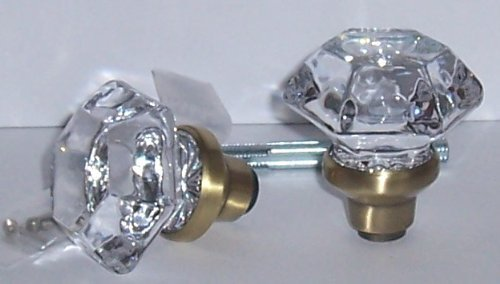 A Pair of Six Point Princess Old Town 24% Lead Crystal Interior Passage Knobs with Antique Brass Stem Over Solid Brass. Our Excicting New Reproduction of the Original Old Town Knobs. Previously Only Available At a Much Higher Price Points. by Rousso's Reproduction -