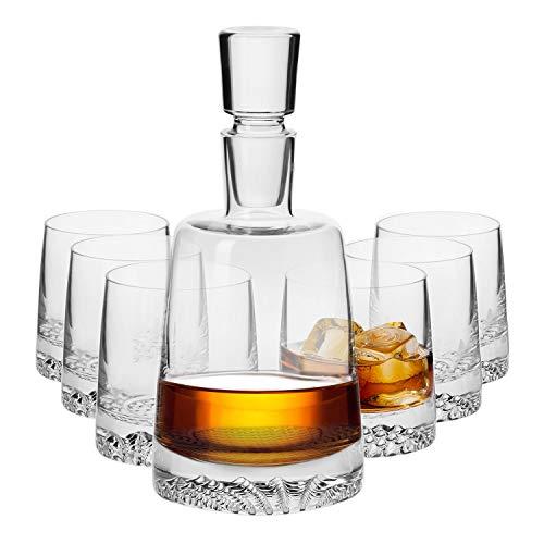 Krosno Whisky Set | 1 x 950 ml Karaffe & 6 x 300 ml Glas | Fjord Kollektion | Perfekt für Zuhause, Restaurants und Partys Whiskykenner Single Old Fashioned