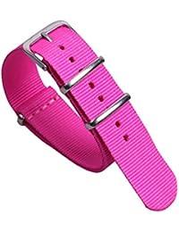 20mm rosa roja correas de reloj de estilo de lona de nylon de la NATO preciosas muchachas dulces correas de repuesto para las niñas