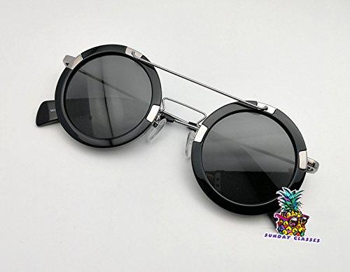 day spring online shop Mens Womens Unisex Retro Round Mirrored Glasses For yohji yamamoto sunglasses - black