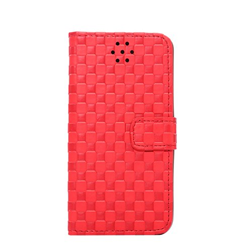 Étui iPhone 5, iPhone 5S, iPhone 5SE cas, cinq couleur Tension Petit carré Étui à rabat en cuir PU Porte-cartes Support Coque avec Film Protecteur d'écran pour iPhone 5/5S/5SE rouge