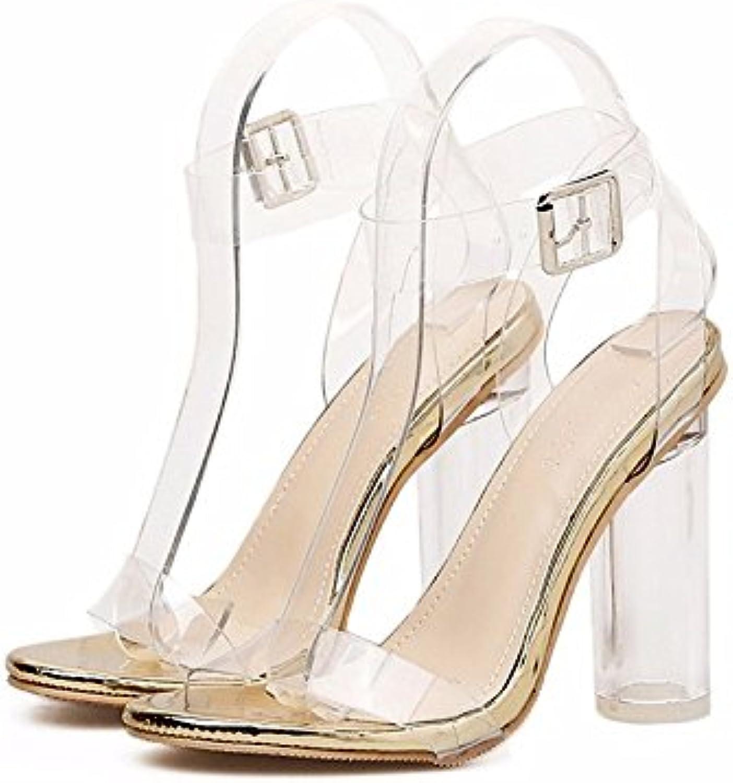 7e359630a8c2b4 ZHZNVX Women s Women s Women s Shoes PU Spring Summer Basic Pump Comfort  Sandals Chunky Heel for Casual Gold Silver B07DD7P471 Parent f4213f