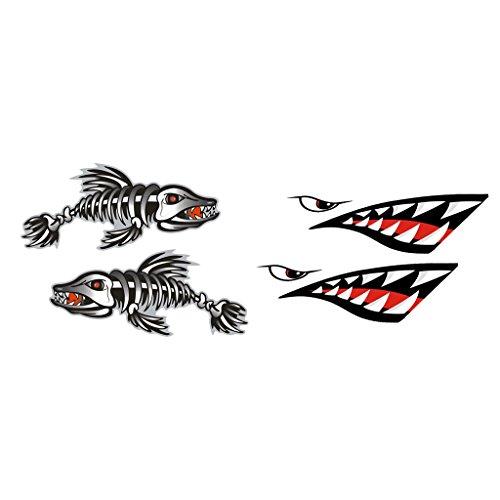 MagiDeal 4pcs Autocollants Sticker de Vinyle Squelette Arête de Poisson Dent de Requin Pour Kayak Gonflable Bateau de Pêche - #2