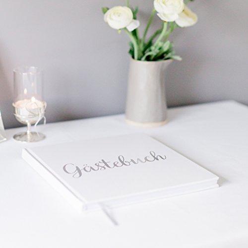 Your Perfect Day Hochzeit Gästebuch Weißbuch mit Elfenbeinband Silber Silberfolie Stanzen und Hochformat 180GSM Papier 32 Seiten 64 Seiten Quadrat - Außergewöhnliche Qualität
