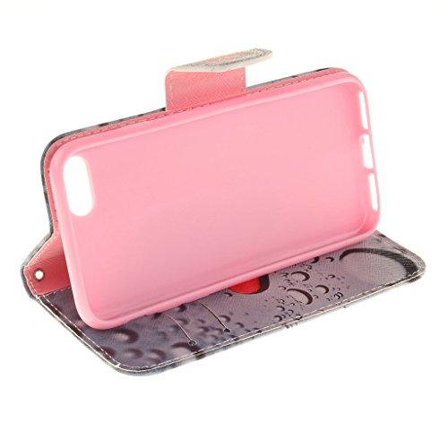 CareyNoce Apple iphone 7 Plus Coque,Flip Housse Etui Cuir PU Coque pour Apple iPhone 7 Plus (5.5 pouces) -- Léopard #1 T23