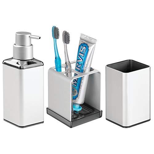 MetroDecor mDesign Accessoires de Salle de Bain (Lot de 3) � Porte Brosse a dent, Distributeur de Savon et Verre � en Aluminium Inoxydable � Argent�/fum�