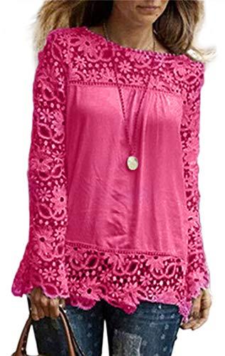 ESAILQ Mode Damen Langarm Shirt Casual Spitze Bluse lose Baumwolle (XXL, Pink)