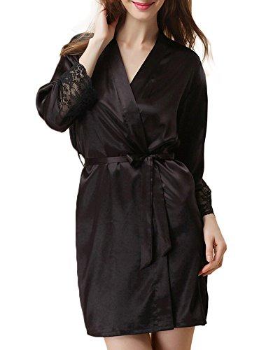Femme Lingerie Nuisette en Satin Kimono Manche Longue Chemise de Nuit Robe Noir