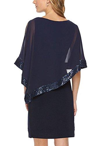 Frauen Elegant Sequince Patchwork - Reine Hebt Schicht Kleid Blue