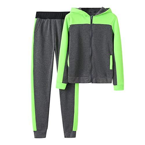 Damen Jogginganzug Set Camouflage Freizeitanzug Zweiteiler, Farben:Grün, Größe Damen:LXL