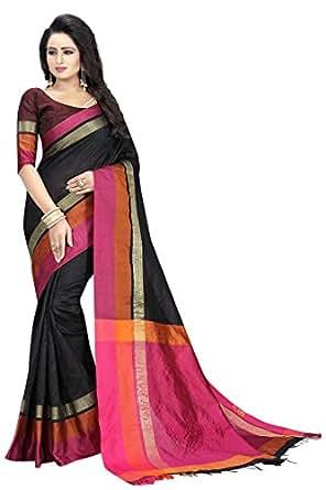 PerfectBlue Cotton Saree with Blouse Piece (Black40004_Black_Free Size)