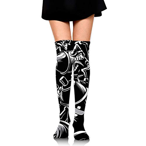 eruerueruruer Crazy Graffiti Pigments Bucket Womens Knee High Socks Long Socks Sport Socks Thin for Running,Medical,Athletic,Travel Womens Graffiti Mesh