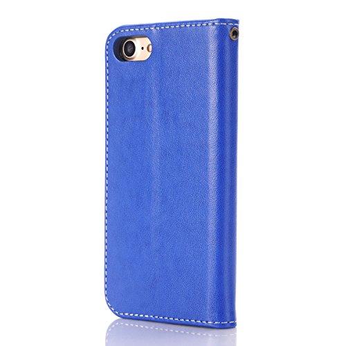 Pour iPhone 7, Rose Flowers en relief, motif en cuir PU JING ( Color : Darkblue ) Blue