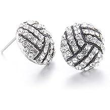 Lureme Mode Kristall Strass Post Stud Silber Bling Basketball Ohrringe (er005453)