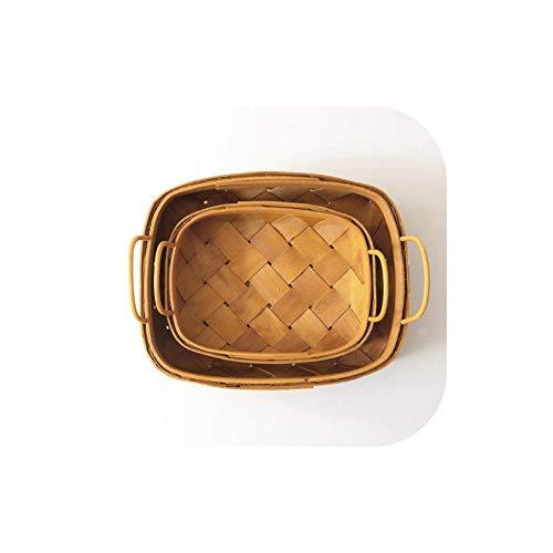 Gezellig Vesper Baskets Holzkorb Griff Hand Woven Korb Brot Obst-Speicher-Korb Küchespeicherkorb, S