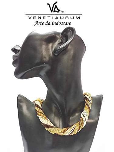 Venetiaurum - Collana Girocollo Multifili Donna In Vetro Originale Di Murano E Argento 925 - Gioiello Made In Italy Certificato