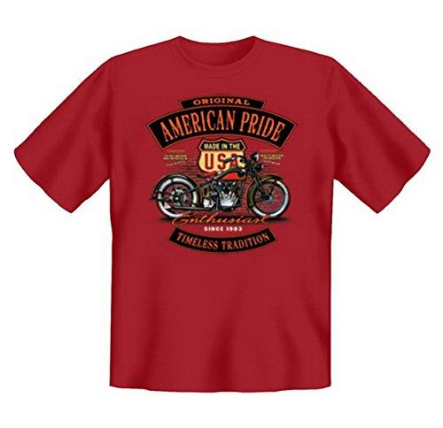 Biker & Motorrad T-Shirt geil bedruckt / American Pride - Enthusiast ! Dunkelrot