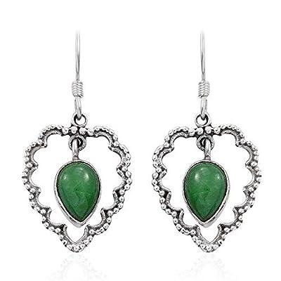 Boucles d'oreilles en argent sterling 925 pour femmes, Boucles d'oreilles pendantes, Boucle d'oreille Turquoise poire verte, Boucles d'oreilles pendantes Sterling Silver Earrings for Women & Men