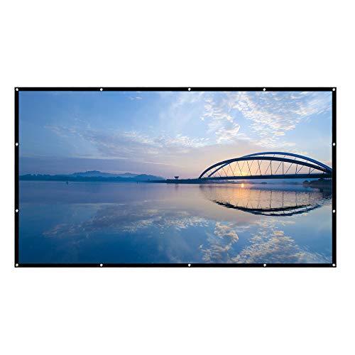 HENGMEI 100 Zoll Tragbare Beamer Leinwand Projektions Leinwand Projektionsfläche Format 16:9 Full HD 3D, für Heimkino,Business PPT-Präsentation,Outdoor (100 Zoll)