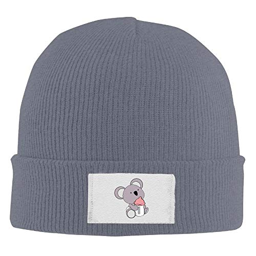 Adult's Bear Cartoon Head Elastic Knitted Beanie Cap Winter Outdoor Warm Skull Hats Sun