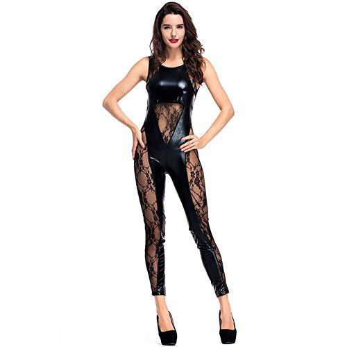 Unbekannt Frauen Catsuit Lace Mesh Stitching Overall Nachtclub Kostüme PU Leder Kostüm Phantasie Outfit Erwachsene Bodysuit (Catwoman Outfit Uk)